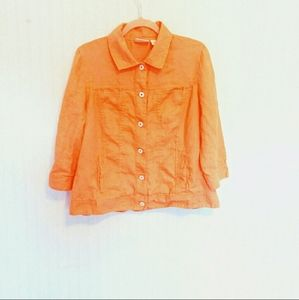 Chico's Orange Linen 3/4 Sleeve Light Button Up